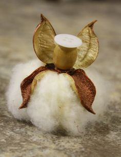 Items similar to Copper Cotton Boll Angel on Etsy Felt Christmas, Christmas Angels, Christmas Ornaments, Crafts For Kids, Arts And Crafts, Diy Crafts, Cotton Decor, Crochet Angels, Angel Crafts