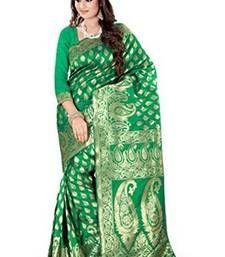 Buy green plain art_silk saree with blouse banarasi-silk-saree online