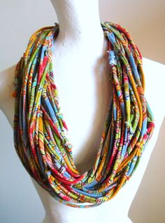 Infinity Scarf Blue Yellow Red Green Paisley Print