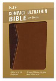 KJV Compact Ultrathin Bible for Teens, Walnut LeatherTouch