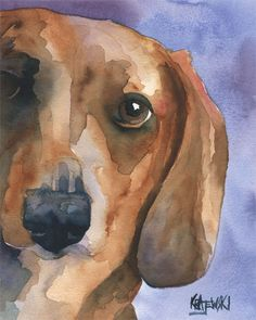 Dachshund Art Print of Original Watercolor by dogartstudio on Etsy, $12.50