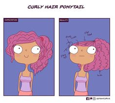 """Illustrated """"Curly Hair Problems"""" Anyone with Unruly Hair Can Relate To Curly Hair Ponytail, Curly Hair With Bangs, Curly Hair Tips, Curly Hair Care, Short Curly Hair, Ponytail Hairstyles, Diy Hairstyles, Straight Hairstyles, Curly Hair Styles"""