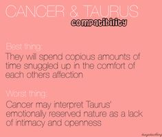 Taurus male and cancer woman