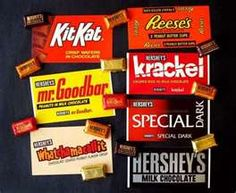 "The first picture may look like one of large and miniature Hershey's chocolate bars, but the large ""bars"" are actually postcards. Chocolate Humor, Hershey Chocolate Bar, Chocolate Pie Recipes, Frozen Hot Chocolate, Chocolate Lasagna, Chocolate Shop, Chocolate Cookies, Candy Bar Cookies, Cookie Bars"