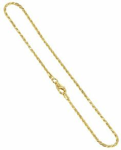 """BDAGP002-10 Gold over Silver Vermeil 1.5mm Rope Chain 10"""" Anklet Gem Avenue. $13.99. 1.5mm Rope Vermeil Chain Anklet. Comes with secure Lobster Clasp. 14 KT Gold over Sterling Silver. Gem Avenue sku # BDAGP002. Save 59%!"""