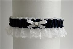 Black Satin Garter with White Lace