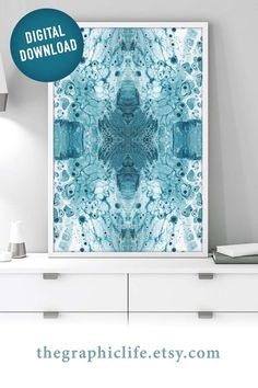 Satisfy your love of teal and make a quick change to your home or office by getting instant access to this abstract downloadable print. Click through to view more styles! #DigitalArt #InstantArt #ColorfulDigitalArt #PourArtwork #FluidArt Types Of Painting, Pour Painting, Teal Wall Art, Wall Art Prints, Printing Services, Online Printing, Jewel Tone Colors, Teal Walls, Aboriginal Art