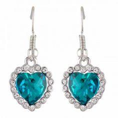 Aaishwarya Teal Blue Heart Crystal Earrings #earrings #earringsforwomen #heartshape #heartearrings #danglers #dropearrings