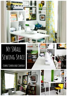 My Small Sewing Space - Simple Simon and Company - Small Sewing Space Collage - Tiny Sewing Room, Small Sewing Space, Sewing Room Storage, Sewing Spaces, Sewing Room Organization, Small Space Organization, Craft Room Storage, Sewing Rooms, Fabric Storage