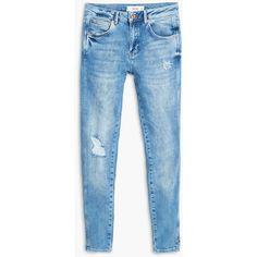 Skinny Caprice Jeans (£40) ❤ liked on Polyvore featuring jeans, skinny jeans, destructed skinny jeans, ripped denim jeans, zipper skinny jeans e embellished skinny jeans