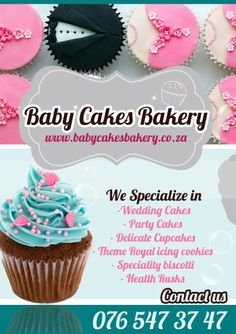 My Business Banner! www.babycakesbakery.co.za Royal Cupcakes, Cupcake Icing, Bakery Cakes, Royal Icing, Party Cakes, Biscotti, Wedding Cakes, Delicate, Cookies