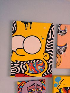 Bartodelics Bartodelics Carinaklinkenberg Neue kunst Bart Simpson X hand designed and painted in the uk by me Luke […] painting ideas Small Canvas Paintings, Easy Canvas Art, Small Canvas Art, Mini Canvas Art, Acrylic Painting Canvas, Hippie Painting, Trippy Painting, Hippie Art, Psychedelic Art
