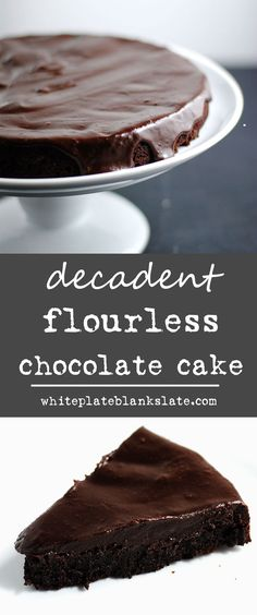 An easy and elegant dessert, this creamy, dreamy flourless chocolate cake topped with rich ganache is sure to satisfy your chocolate craving! Flourless Chocolate Torte, Chocolate Ganache Cake, Chocolate Desserts, Chocolate Chocolate, Baking Recipes, Cake Recipes, Dessert Recipes, Top Recipes, Gallette Recipe