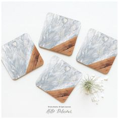 Coaster Set of 4 Faux Marble Wood Print, Gray Geometric Cork Coasters, Marble Print Coaster Set, Geometric Wood Marble Coasters 34.