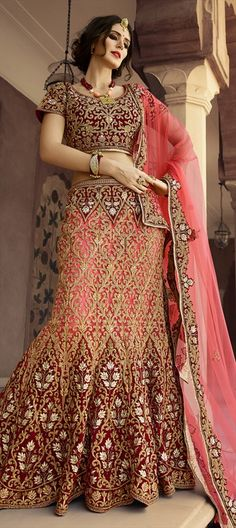 715432 Pink and Majenta, Red and Maroon  color family Bridal Lehenga in Net fabric with Kasab, Machine Embroidery, Resham, Stone work .
