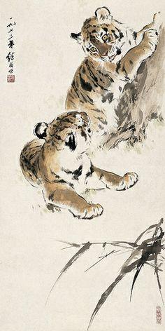 Painted by Liu Jiyou (劉繼卣, Tiger Painting Japanese Painting, Chinese Painting, Japanese Tiger Art, Chinese Tiger, Chinese China, Animal Paintings, Animal Drawings, Art Chinois, Tiger Painting
