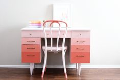 Ombre Painted Desk by design Renovation Design, Ombre At Home, Home, Wall Accessories, Coral Furniture, Pink Desk, Furniture Makeover, Iconic Chairs, Colorful Furniture