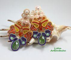 Mirabella -hand embroidered jewelry,soutache jewelry,beaded soutache,gift for her,gift,soutache earings