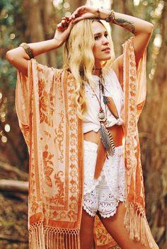 ➳➳➳☮American Hippie Bohemian Boho Bohéme Feathers Gypsy Spirit Style- Kimono