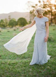 Bridal. Gown. Pale blue wedding dress.