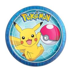 You'll score points with them on their birthday when you have Pokemon Core Dessert Plates! These small paper plates feature Pikachu, the Pokemon logo, and a Poke Ball on a blue background.