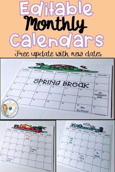 On the lookout for teacher or student calendars?  Check out these monthly calendars perfect for your back to school classroom needs.  These fun, editable school calendars are a great for students' calendars, parent communication, setting goals, snack calendars, volunteer schedules, homework, lesson plans, guided reading schedules, and IEP information.  Did I mention that the calendars continue to be updated for free?  Click here for more information about these easy printable calendars. School Calender, Teacher Calendar, Student Calendar, Calendar Board, Online Calendar, Kids Calendar, Calendar Design, Editable Monthly Calendar, Monthly Calendar Template