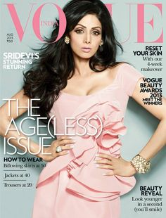 Sridevi on the cover of Vogue India August 2013 - love the whole look given to our Bollywood Queen and that Oscar de la Renta dress. At she looks like she hasn't aged a day since Chandini hit the silver screens in Vogue Magazine Covers, Fashion Magazine Cover, Vogue Covers, Vogue India, Bollywood Stars, Bollywood Fashion, Bollywood Actress, Vogue Photoshoot, Vogue Beauty
