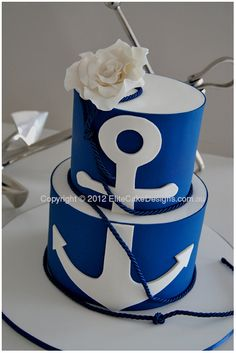 Anchors, bows, nautical, navy and pink or red wedding theme! - For Brittany's sweet birthday - Yacht wedding Elegant Wedding Cakes, Wedding Cake Designs, Red Wedding, Wedding Ideas, Wedding Things, Sea Cakes, Blue Cakes, Themed Wedding Cakes, Themed Cakes
