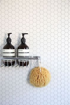 White hexagon (penny) tile - bathroom wall w/ minimalist chrome hardware Hex Tile, Penny Tile, Hexagon Tiles, Honeycomb Tile, Tiling, Hexagon Tile Bathroom, Mosaic Tiles, Geometric Tiles, Small Bathroom Tiles