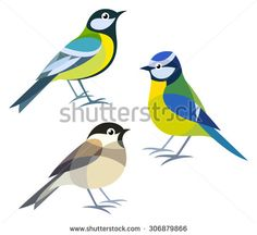 Stylized Birds - Great Tit, Blue Tit, Willow Tit - stock vector