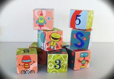 Robots and Rocket Ship Wooden Blocks. Gift, toddler, children, baby, photo prop.. $5.00, via Etsy.