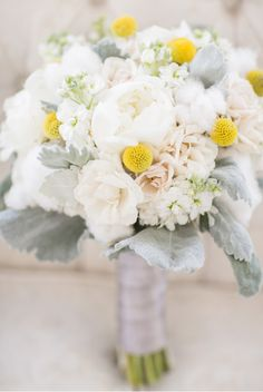yellow white and sage silver grey wedding flower bouquet, bridal bouquet, wedding flowers, add pic source on comment and we will update it. www.myfloweraffair.com can create this beautiful wedding flower look.