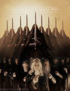The Devolution of the Nine Kings of Men ~ to whom Sauron the Deceiver, in the guise of Annatar the Fair (Aulendil / Artano 'High-smith'), distributed nine Great Rings of Power (seven were given to the Dwarf-lords and three were safeguarded by the Elf-kings): bound by their power, these princely Men, easily corrupted, became the spectral Nazgûl ~ 'Ringwraiths' ~ neither living nor dead, slaves to their Dark Lord's designs to dominate the world: paramount was the recovery of 'the One' Ruling…