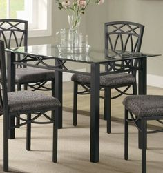 black friday 2014 dining table with glass top in black metal finish