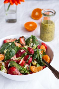Strawberry, Spinach and Avocado Salad with Orange Ginger Vinaigrette | halfbakedharvest.com