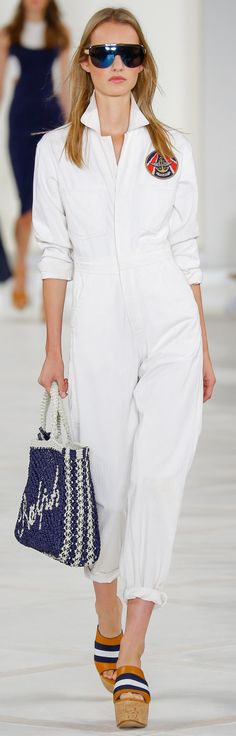 Ralph Lauren Collection Spring 2016: an ivory cotton herringbone jumpsuit and navy raffia crochet Ralph tote