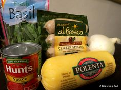 Ingredients for Polenta & Sausage - Weight Watchers Recipe. This recipe is packed with flavor and tastes great! (Sub for vegan sausage) Ww Recipes, Skinny Recipes, Cooking Recipes, Healthy Recipes, Cooking Ideas, Lunch Recipes, Recipies, Polenta Recipes, Sausage Recipes