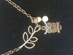 Owl on a branch chain necklace.....brass