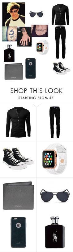 """""""Louis Tomlinson outfit for day in Glasgow, Ireland"""" by onedirectionforever1297 on Polyvore featuring Wood Wood, Converse, Michael Kors, Moshi, Ralph Lauren, men's fashion and menswear"""
