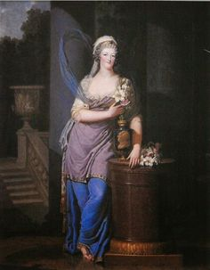 Copy of a lost painting of Marie Antoinette as a vestel virgin holding a vase with the image of Louis XVI, 1791 by Olivier Blanc. The painting was a favorite of the king's, and a he took a smaller copy with him on the flight to Varennes.
