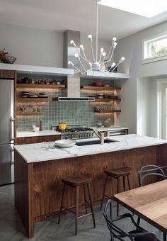 Kitchen Dark Walnut Cabinets Marble Counters