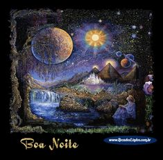 Painted by Josephine Wall, the Doorway to the Stars wall mural from Murals Your Way will add a distinctive touch to any room. Choose a pre-set size, or customize to your wall. Josephine Wall, Fantasy Kunst, Fantasy Art, Fantasy Landscape, Animated Gifs, Murals Your Way, Illustrations, Stars And Moon, Sun Moon