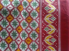 Indian Cotton Saree Red Yellow Green White Fabric Ikat by RaajMa