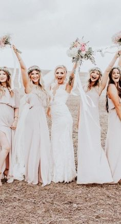 A bride and her besties on the beach! Dress: Wyatt by Sottero and Midgley.