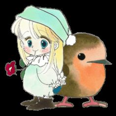 "A tiny little girl called Poe and her best friend Rilfee the robin.From the comic series "" The fairy tale of the Silverday"" by Mutsumi Hagiiwa. English Lines, Line Store, Line Sticker, Creative Art, Love Her, Fairy Tales, Pikachu, Little Girls, Best Friends"