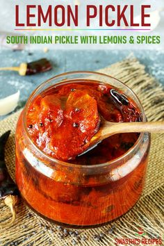 Lemon pickle is a traditional Indian condiment made with lemons, red chilli powder and salt. Serve it as a side in a Indian meal or with just rice and dal. Indian Food Recipes, Crockpot Recipes, Vegetarian Recipes, Cooking Recipes, Healthy Recipes, Chinese Recipes, Easy Recipes, Salad Recipes, Healthy Snacks