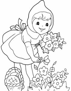 Here are the Perfect Little Red Riding Hood Pictures For Kids Colouring Pages. This post about Perfect Little Red Riding Hood Pictures . Coloring Pages For Girls, Cartoon Coloring Pages, Coloring Book Pages, Coloring For Kids, Coloring Sheets, Red Riding Hood Party, Red Hood, Free Printable Coloring Pages, Digi Stamps