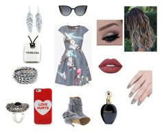 """""""Gray Love"""" by roxy-crushlings ❤ liked on Polyvore featuring Ted Baker, Maison Margiela, Marc Jacobs, Belk Silverworks, Majique, Lime Crime, Roberto Cavalli, ncLA and Fendi"""