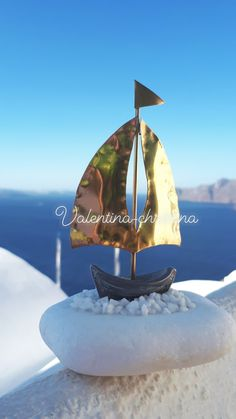 Greek handmade metall boat with stone from thasos island!wedding favors for unique people,santorini! Santorini Caldera, Thasos, Greece Wedding, Island Weddings, Archipelago, Shades Of Blue, Snow Globes, Wedding Favors, Greek
