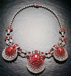 birthstonesgems:  Luxury Cartier Ruby Necklace with Diamonds. Credits to Clive Kandel